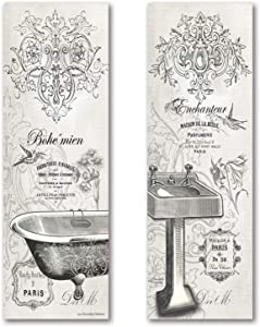 2 Vintage French Claw-foot Bathtub and Sink Panel Prints; Two 6x18inch UNFRAMED Paper Posters