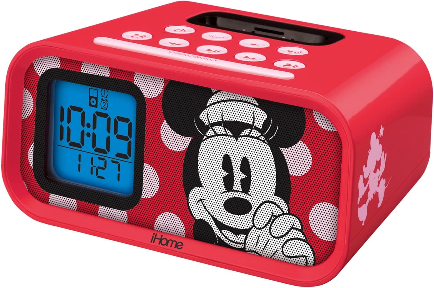 Disney iHome Minnie Mouse Dual Alarm Clock Speaker System With Ipod Dock