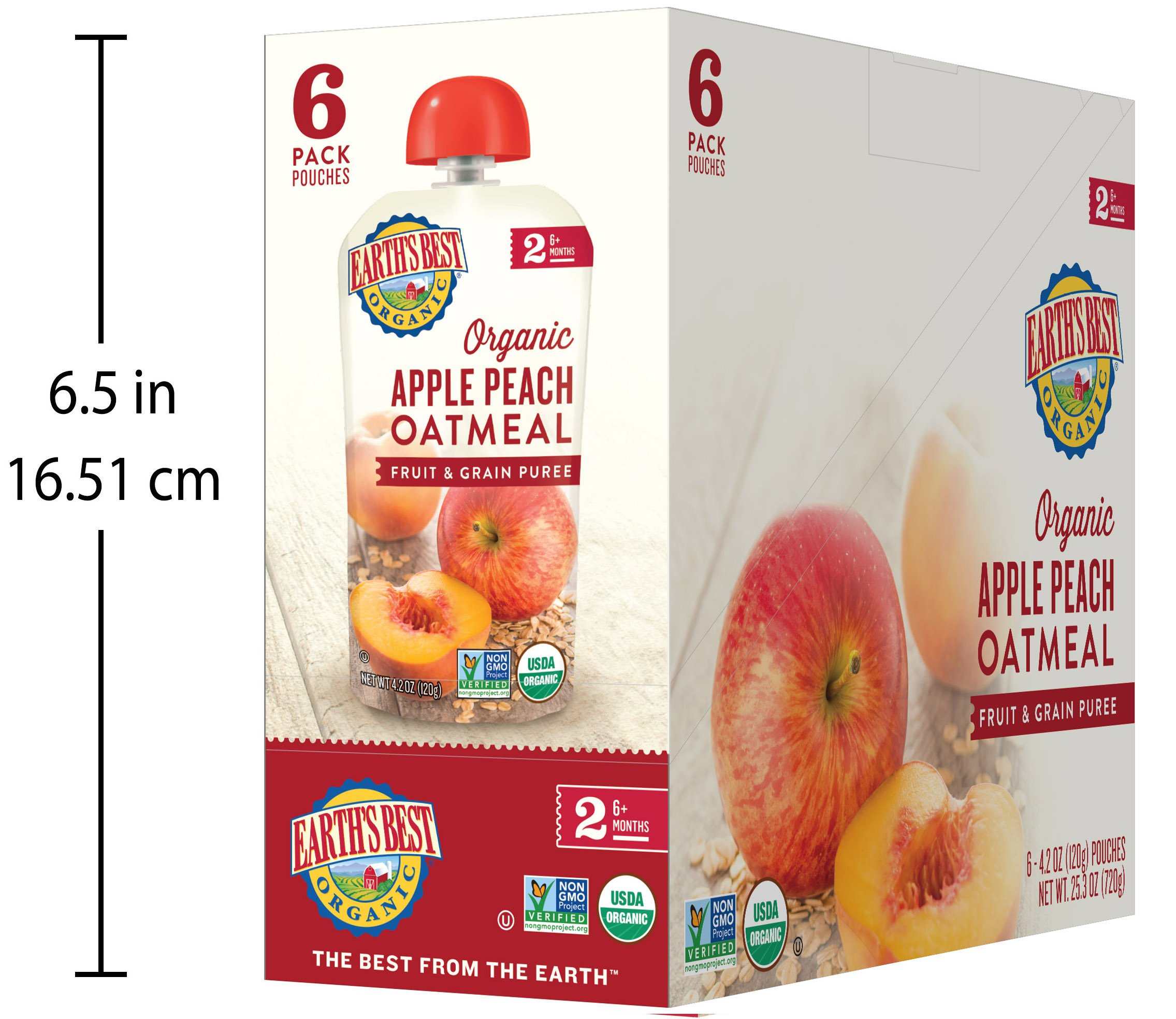 Earth's Best Organic Stage 2 Baby Food, Apple Peach and Oatmeal, 4.2 oz. Pouch (Pack of 12) by Earth's Best (Image #8)