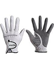 Sportout Herren Golfhandschuh aus echtem Cabretta-Leder mit Kompressions-Fit, Stabiler Griff, super weich, flexibel, verschleißfest und bequem, S-XXXL, Weiß