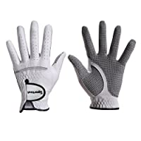 Men's Compression-Fit Stable-Grip Genuine Cabretta Leather Golf Glove, Super Soft, Flexible, Wear Resistant and Comfortable, S-XXXL ,White