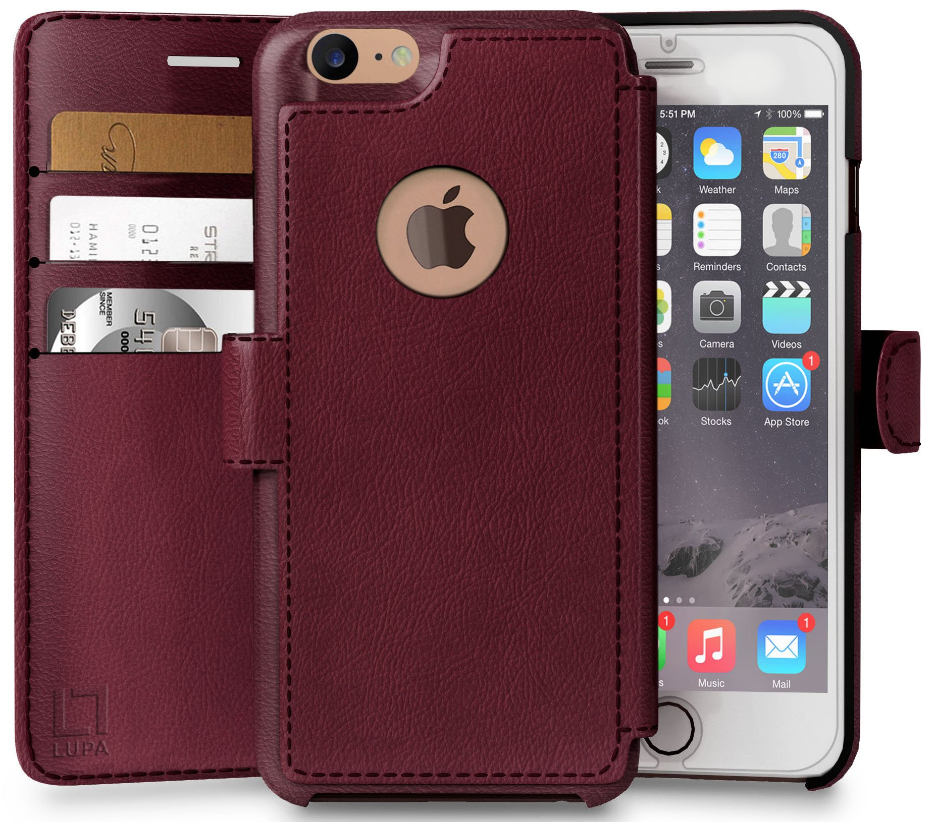 LUPA iPhone 8 Wallet Case, Durable and Slim, Lightweight with Classic Design & Ultra-Strong Magnetic Closure, Faux Leather, Burgundy, Apple 8 (2017) by LUPA