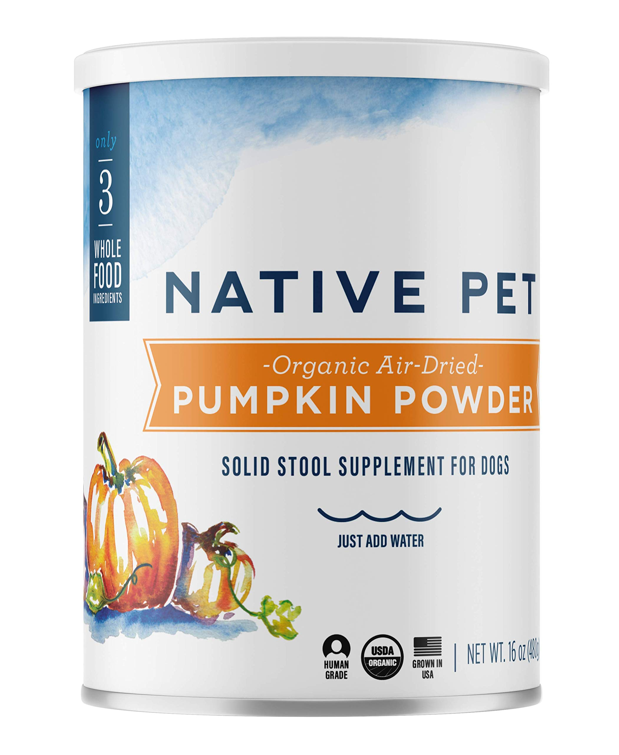 Native Pet Organic Pumpkin for Dogs (8 oz, 16 oz) - All-Natural, Organic Fiber for Dogs - Mix with Water to Create Delicious Pumpkin Puree - Prevent Waste with a Canned Pumpkin Alternative! (16 oz) by Native Pet