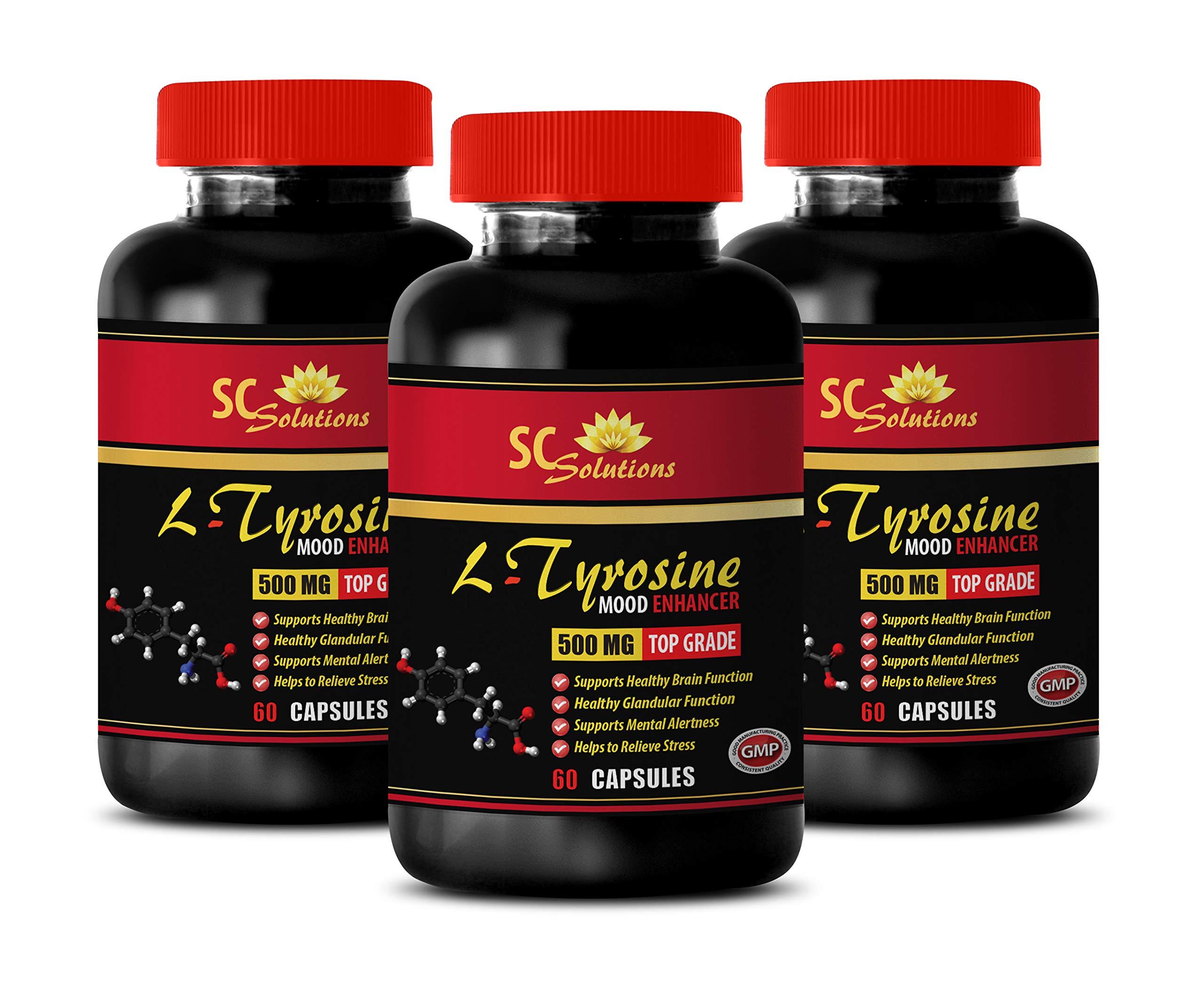Blood Pressure Optimizer Supplement - L TYROSINE 500MG - Mood Enhancer - Brain Booster Focus - 3 Bottles (180 Capsules) by SKIN CARE SOLUTIONS