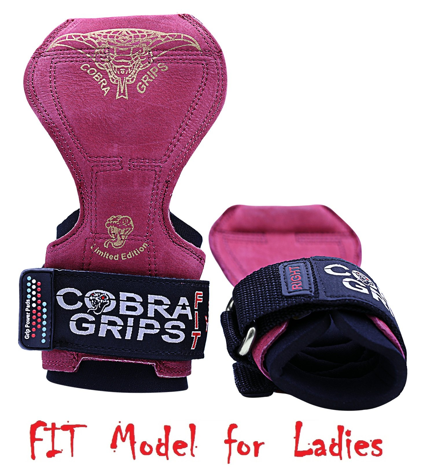 Cobra Grips PRO Weight Lifting Gloves Heavy Duty Straps Alternative to Power Lifting Hooks for Deadlifts with Built in Adjustable Neoprene Padded Wrist Wrap Support Bodybuilding (FIT Red Leather)
