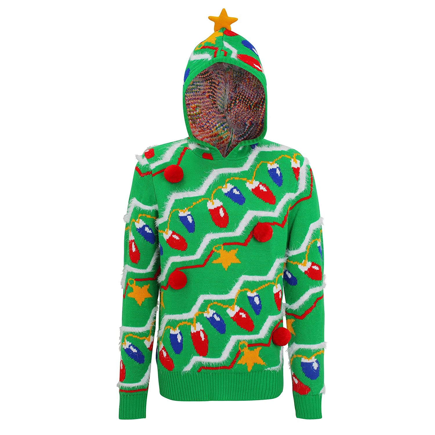 Christmas Tree Style Hooded Jumper With Pom Poms