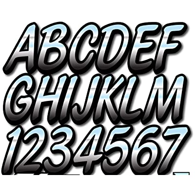 "Stiffie Whipline Chrome/Black 3"" Alpha-Numeric Registration Identification Numbers Stickers Decals for Boats & Personal Watercraft: Automotive"