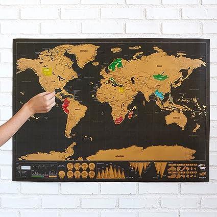 Ducomi® - Mapamundi con rascador para marcar los países visitados. Tu diario de viaje de pared.