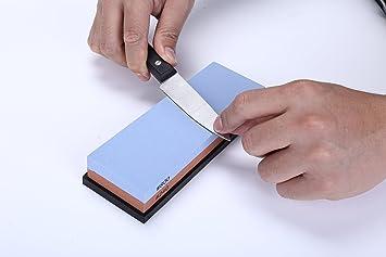 GHB Piedra de Afilar Afilador de Cuchillos Profesional Grano 240/800 Combinación con Soporte de Gel de sílice Resistente a la Corrosión y al Calor