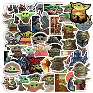 Baby Yoda Stickers(50 Pieces) The Mandalorian Star Wars Decal for Laptop Skateboard Water Bottle Phone Car Bicycle Luggage Guitar Computer