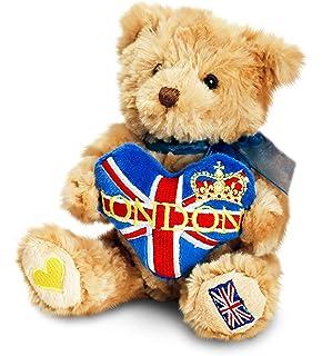 Recuerdo de Londres del juguete Unión Jack del corazón del oso de peluche suave (15