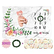 Baby Monthly Milestone Blanket with 12 Stickers, Large 60x40 Month Blankets Girl, Soft Newborn Photography Background Sheet, Infant Photo Prop, Wreath Marker, Personalized Floral Nursery Baby Shower