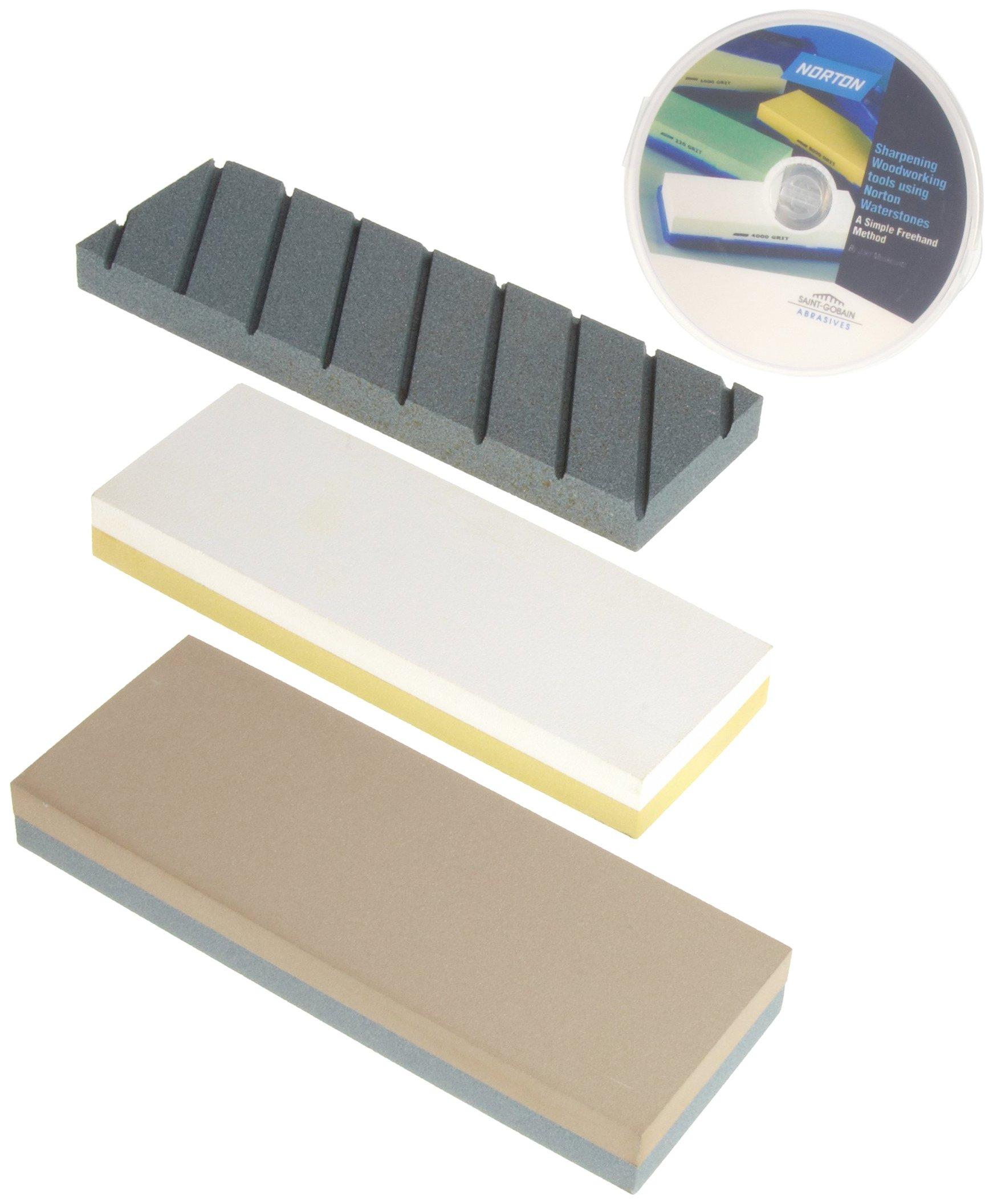 Norton Waterstone Starter Kit: 220/1000 grit stone, 4000/8000 grit stone, SiC flattening stone