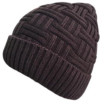 389a5741ab Bonnet Hiver Chapeau en Laine Tricot Chaud pour Homme Femme Simple Noir Brun