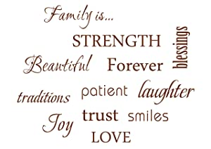 LUCKKYY Family Wall Decal~ Set of 12 Family Words Quote Vinyl Family Wall Decal Family Room Art Decoration Living Room Decor Decoration for Home Decor (Brown)