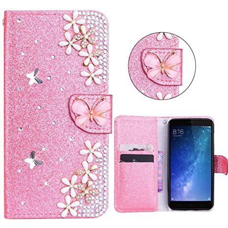 xifanzi Carcasa Funda Case Xiaomi Mi MAX 2 Rosado Bling Glitter Sparkle 3D Diseño Botones Protector Funda PU Leather Flip Cover Carcasa Funda de ...