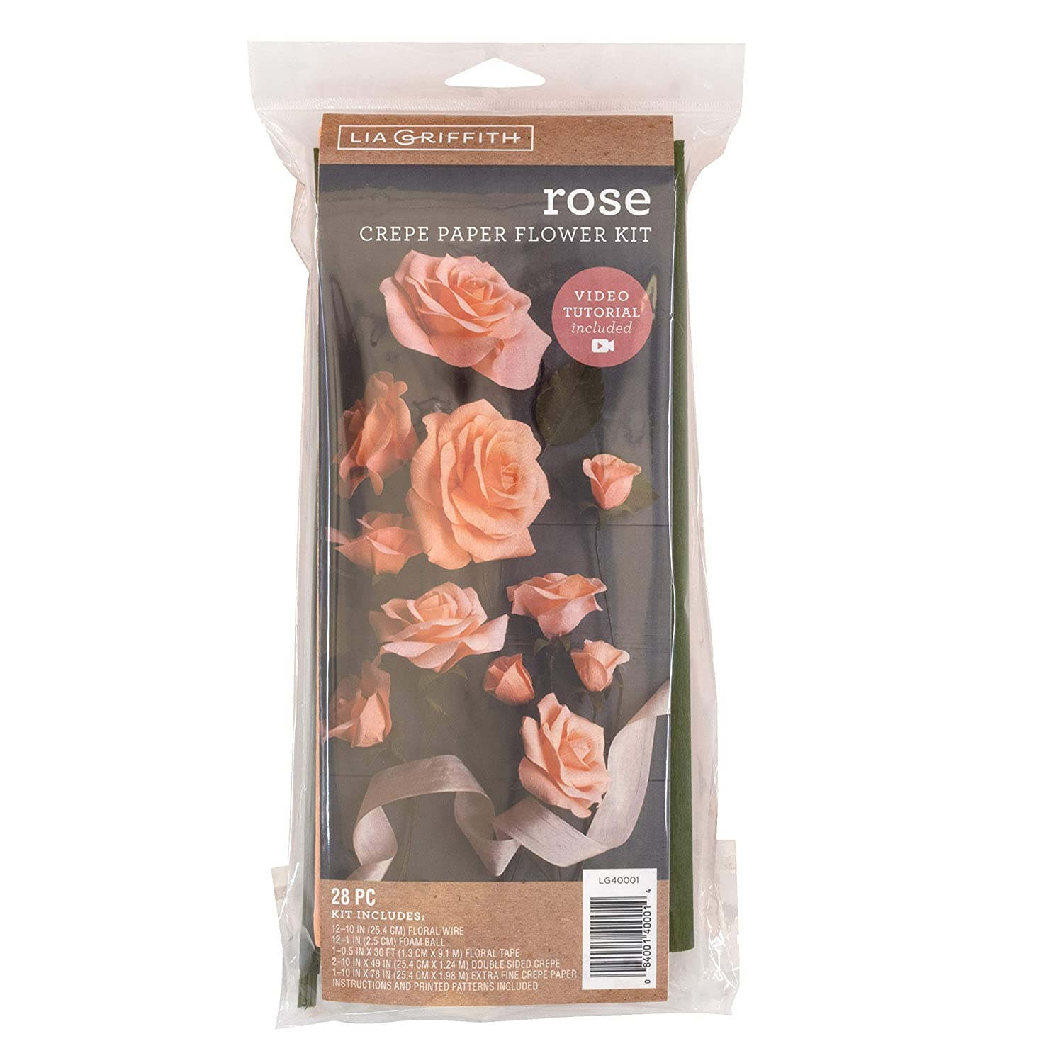 Lia Griffith Lg40001 Crepe Paper Flower Kit Roses Assorted Sizes Assorted Colors 28 Pieces