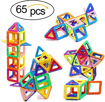 Ranphykx 65-Pcs. Magnetic Building Blocks Toys