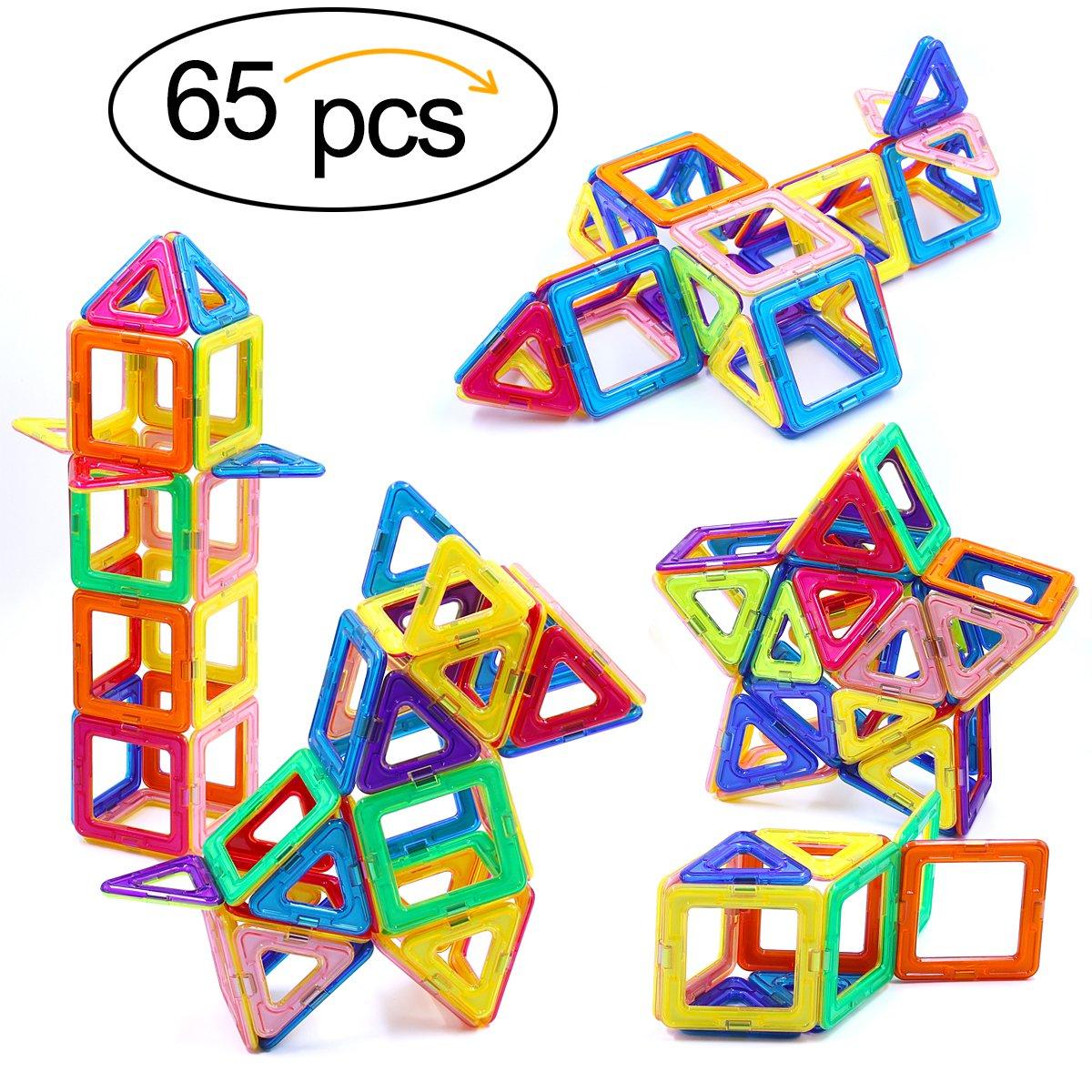 Ranphykx Magnetic Blocks, 65 Piece Magnetic Building Blocks Set Magnetic Tiles Educational Toys for Kids