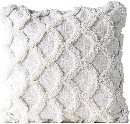 Creative Co-op Square Cotton Chenille Scalloped Pillow, White