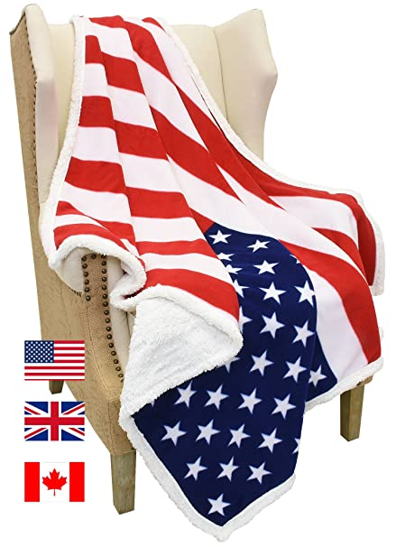 Amazon Com Catalonia Sherpa Fleece Blanket Usa American National