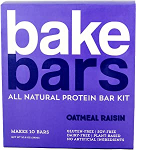 bakebars All-Natural Protein Bar Kit - Oatmeal Raisin - Includes Pre-Measured, Macro-Friendly Ingredients for 10 Nutrition Bars - Soy, Dairy & Gluten-Free -Healthy Snack with Nutrients, Flavor & Fiber