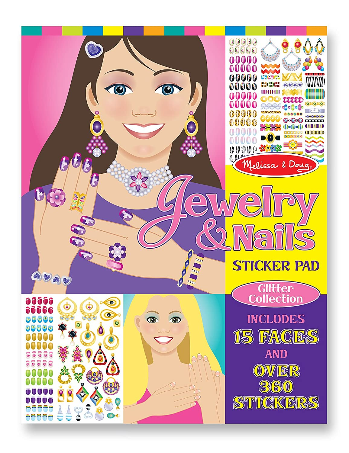 Melissa Doug Jewelry and Nails Glitter Sticker Pad 360 Stickers 15 Faces