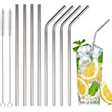 Extra Long 18/8 Stainless Steel Straws 8 Packs ( 4 angled + 4 straight + 2 brush) Reusable Metal Drinking Straws for 30oz and 20oz Cups Rumblers Fits all Yeti Ozark Trail SIC & RTIC Tumblers