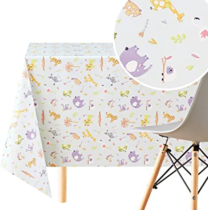 Kp Home Wipe Clean Tablecloth Reusable And Colourful Fun Kids Safari Pvc Table Cover Rectangle 200
