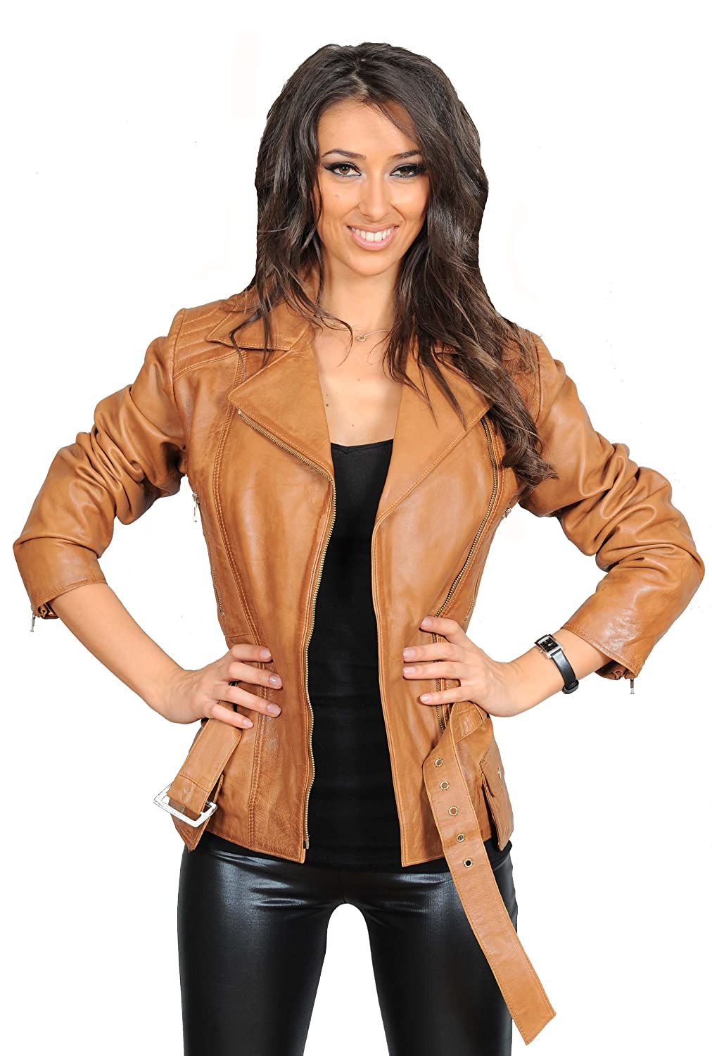 New Mid Length Fitted Biker Style Leather Jacket For Womens Hannah ...