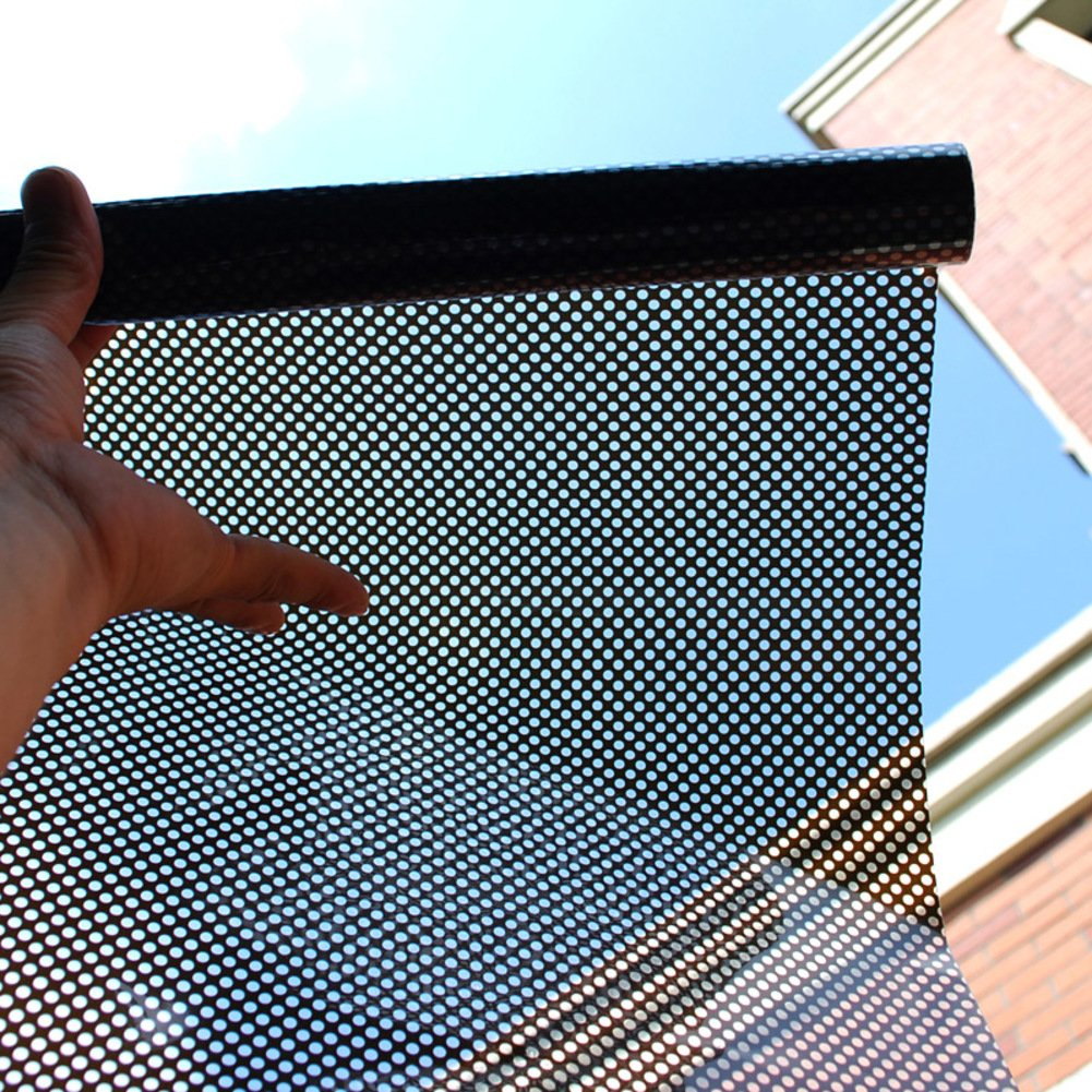 YQ WHJB Self adhesive Glass film,Mesh Sun protection Translucent Light block stickers Decorative Home Office Window decal-black 90x500cm(35x197inch)