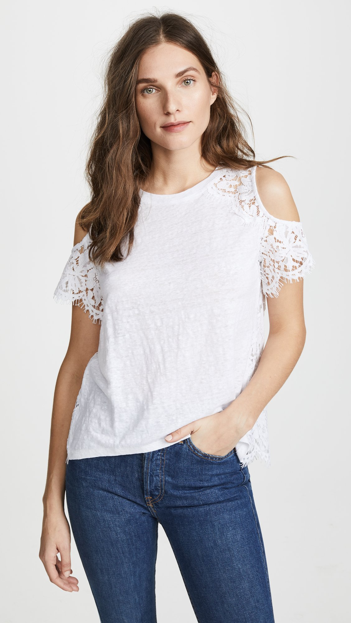 Generation Love Women's London Lace Cold Shoulder Tee, White, Small by Generation Love (Image #4)
