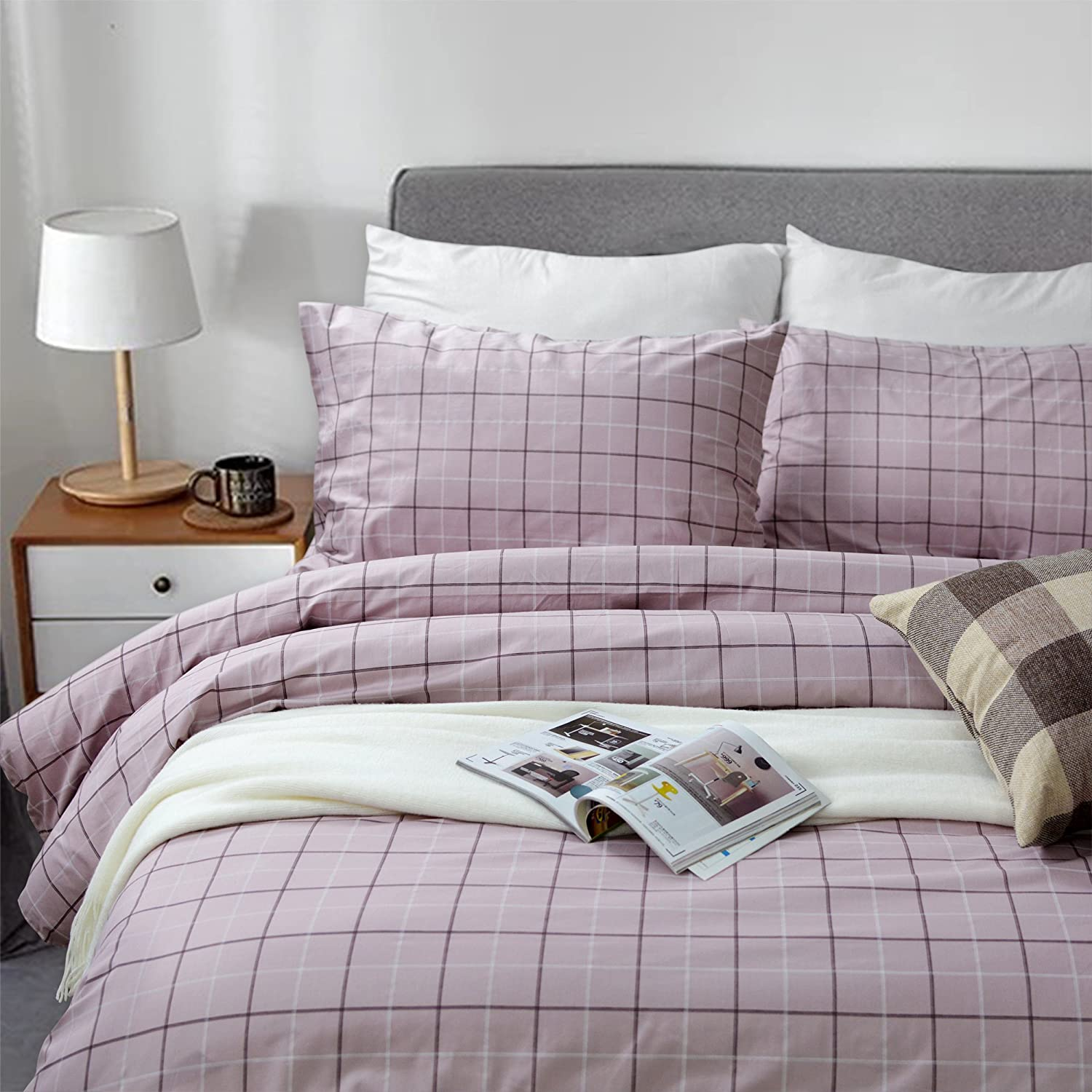 FADFAY Grid Duvet Cover Sets Lightweight Cotton Bedding Set Lattice Checkered Reversible Light Purple Duvet Cover Bedding Collection 3 Pieces,1duvet Cover & 2pillowcases,Twin Size