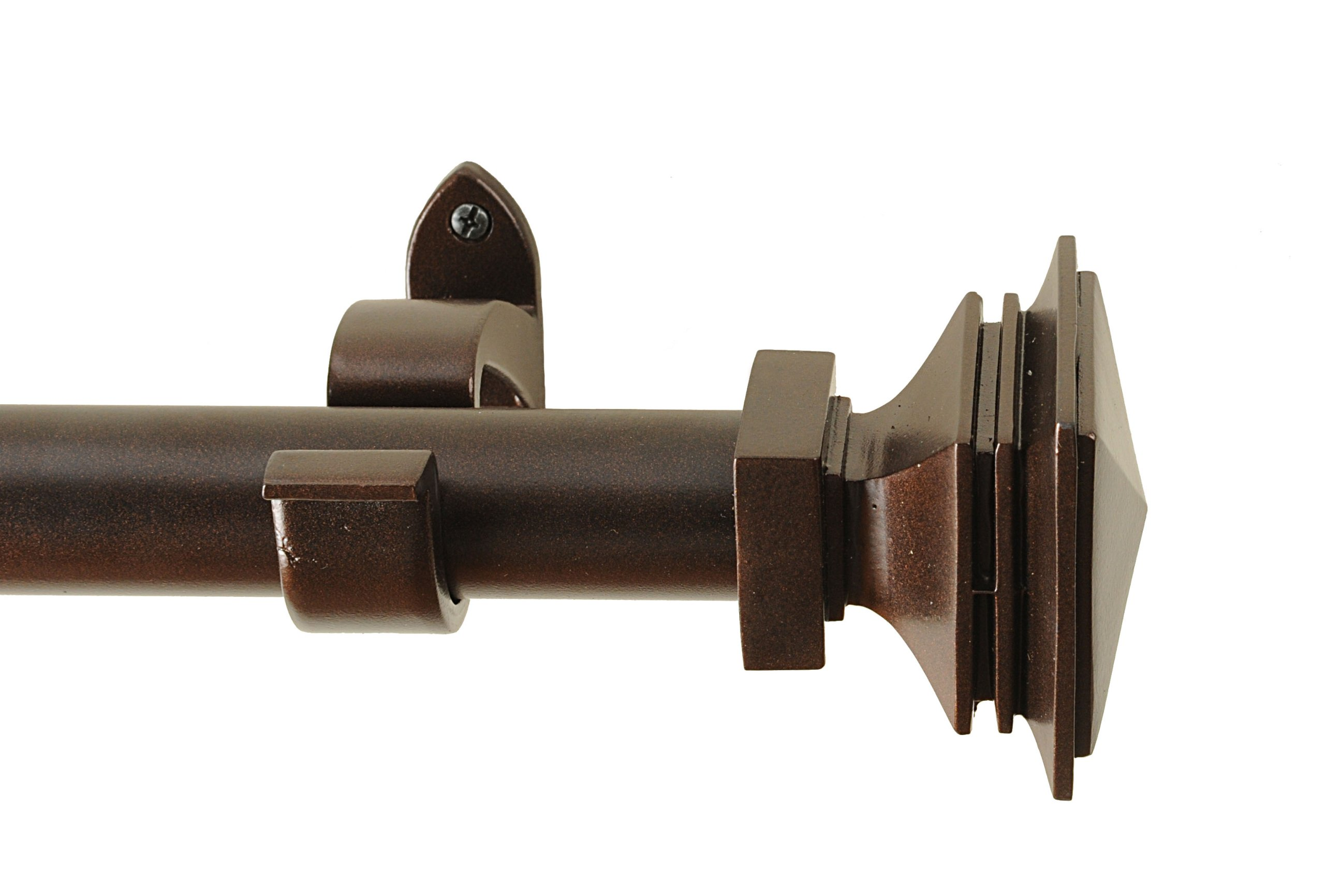 Rulu 25614 18 by 48-Inch Stacked Square Oil Rubbed Curtain Rod with 1.25-Inch Pipe