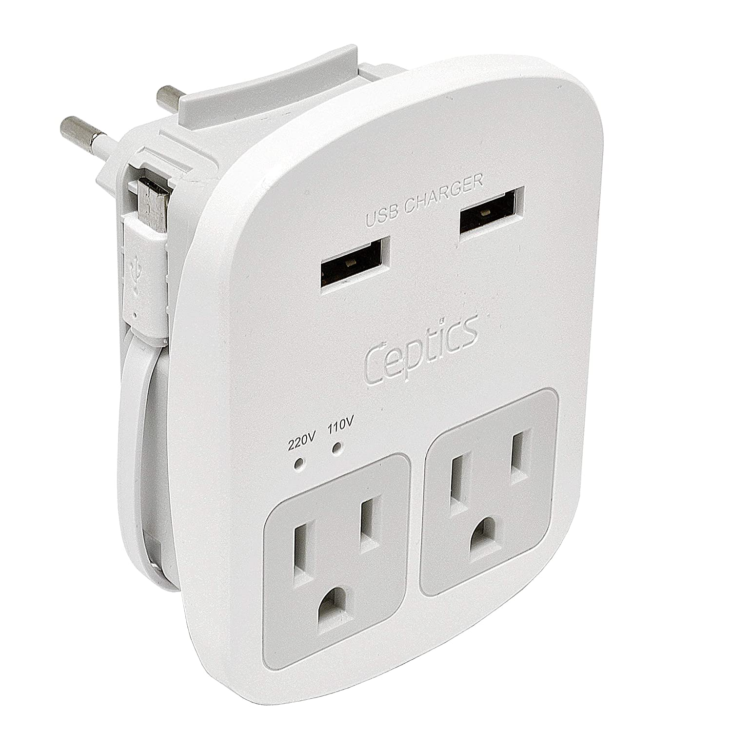 European International Travel Adapter Plug Kit Grounded Dual USB - 2 USA Outlets Input Plugs for Europe, Asia, China, USA, South America, and More - Surge Protection by Ceptics
