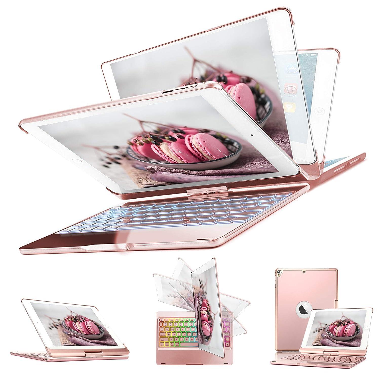 Keyboard Case iPad 2018 9.7 (6th Gen) - iPad 2017 (5th Gen) - iPad Pro 9.7 - iPad Air 1 2, 360° Rotatable 7 Color Backlit Keyboard Auto Wake/Sleep- iPad 9.7 Keyboard Case (Sliver) ASANMU