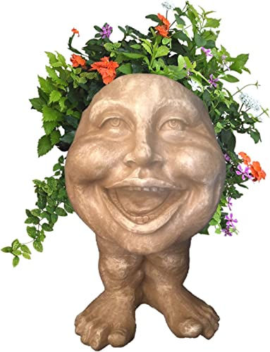 Homestyles 16 in. Stone Wash Aunt Minnie The Muggly Statue Face Planter Holds 7 in. Pot
