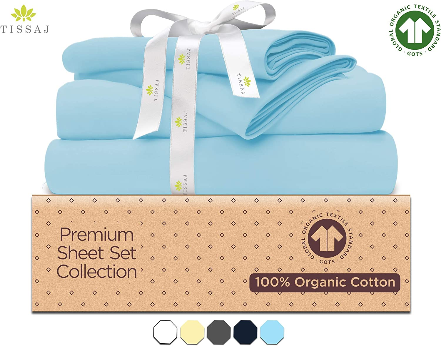 "500-Thread-Count Organic Cotton Bed Sheets-Set - 500TC Queen Size Ice Blue - 4 Piece Bedding - 100% GOTS Certified Extra Long Staple, Soft Sateen Weave Bedsheets - Fits 15"" Deep Pocket Mattress"