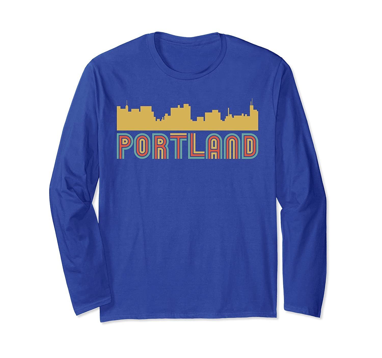 Vintage Style Portland Maine Skyline Long Sleeve T-Shirt-Awarplus