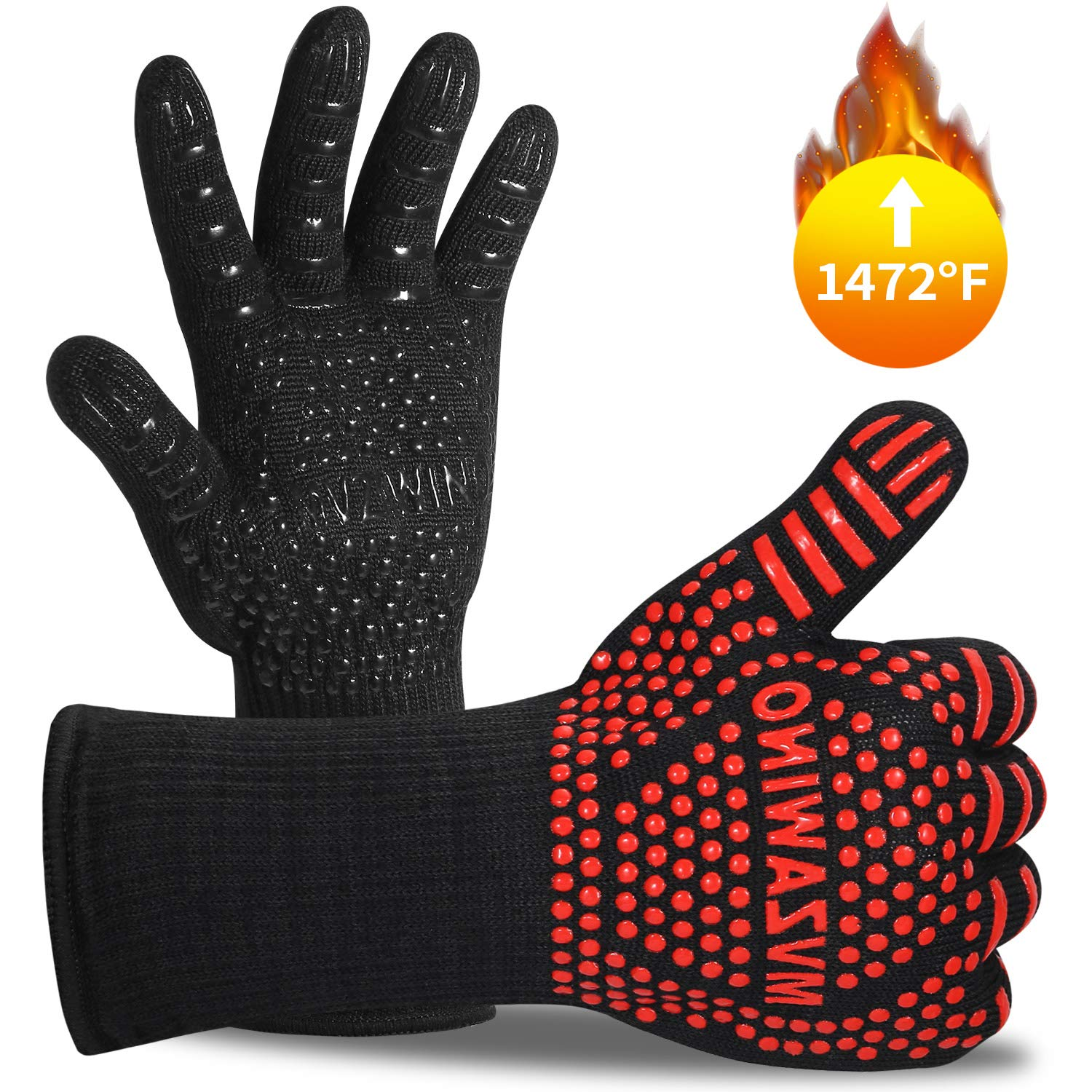 Premium BBQ Gloves, 1472°F Extreme Heat Oven Gloves, Grilling Gloves with Cut Resistant, Durable Fireproof Kitchen Oven Mitts Designed For Cooking, Grilling, Frying, Baking, Barbecue (1 pair)