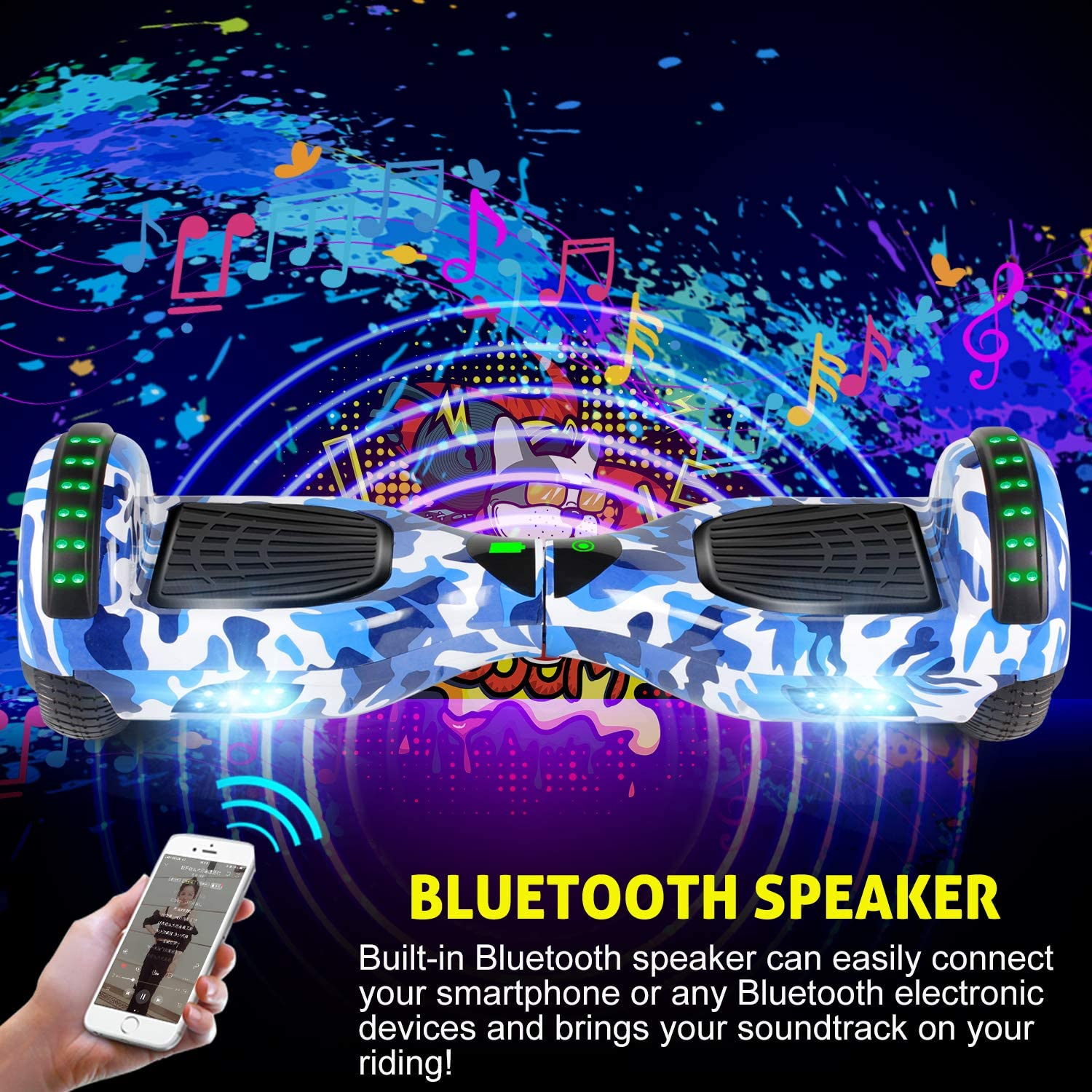 YHR Hoverboard 6.5 Two-Wheel Self Balancing Hover Board with Bluetooth Speaker and LED Lights Hoverboard for Kids and Adults