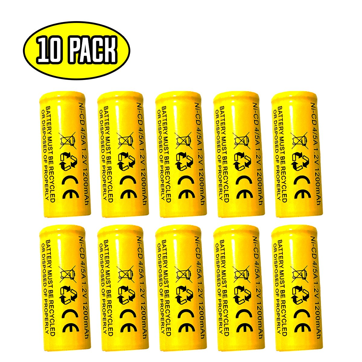 (10 pack) Lithonia LES ELN LRES ELN Lithonia ELB1201N 1.2v 1200mah Ni-cd Battery Replacment for Exit Sign Emergency Light ELB-1210N ELB-1201N Sanyo KR-1200AUL KR1100AE KR-1500AUL by Battery Hawk