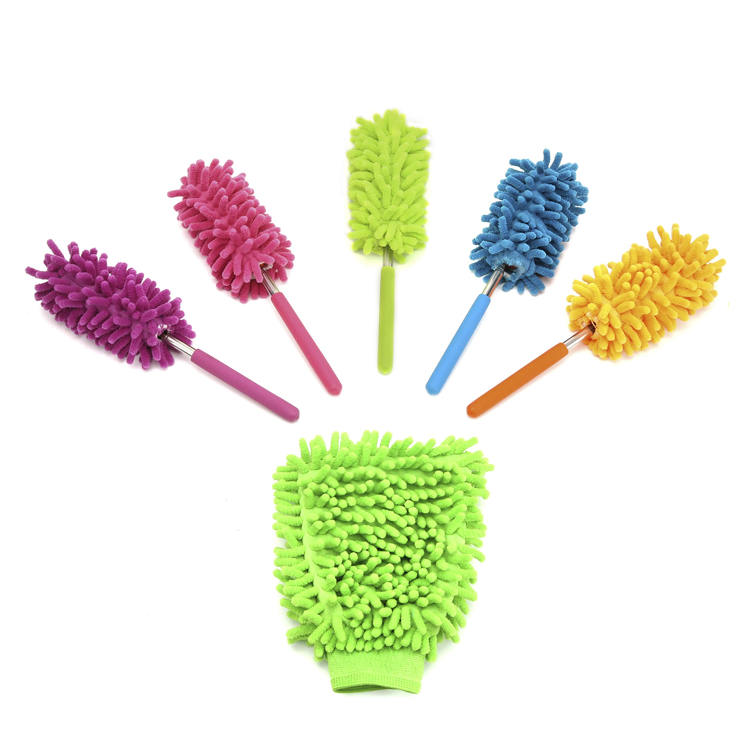 GreenPeaceLove Extendable Long-reach Microfiber Dusters w Telescoping Pole ( Pack of 5 )  Bendable Washable Dusting Brush + 1 (Random color) Mitt for Home Kitchen Cleaning