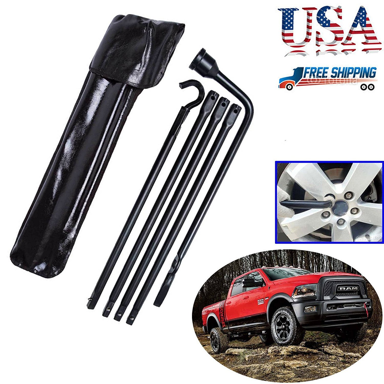 Truck Spare Tire Changing Repair Tool for Ford F150 2004-2014 Car Wheel Remove Jack Replace Irons OEM Lug Nut Wrench Extension 4Pcs Kit Set with Bag US Ship DICN Factory