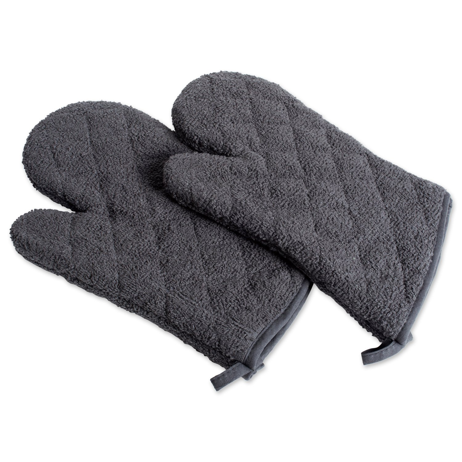 DII 100% Cotton, Terry Oven Mitts 7 x 13, Heat Resistant, Machine Washable for Everyday Kitchen Basic, Set of 2, Mineral Gray, Ovenmitt, 2 Piece