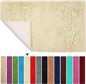 "Bath Rugs Floor Non Slip Bathroom Mat ORANIFUL Microfiber Plush Super Water Absorbent Machine Wash/Dry Shaggy Toilet Carpet Extra Soft 20""x 31.5"", Cream"
