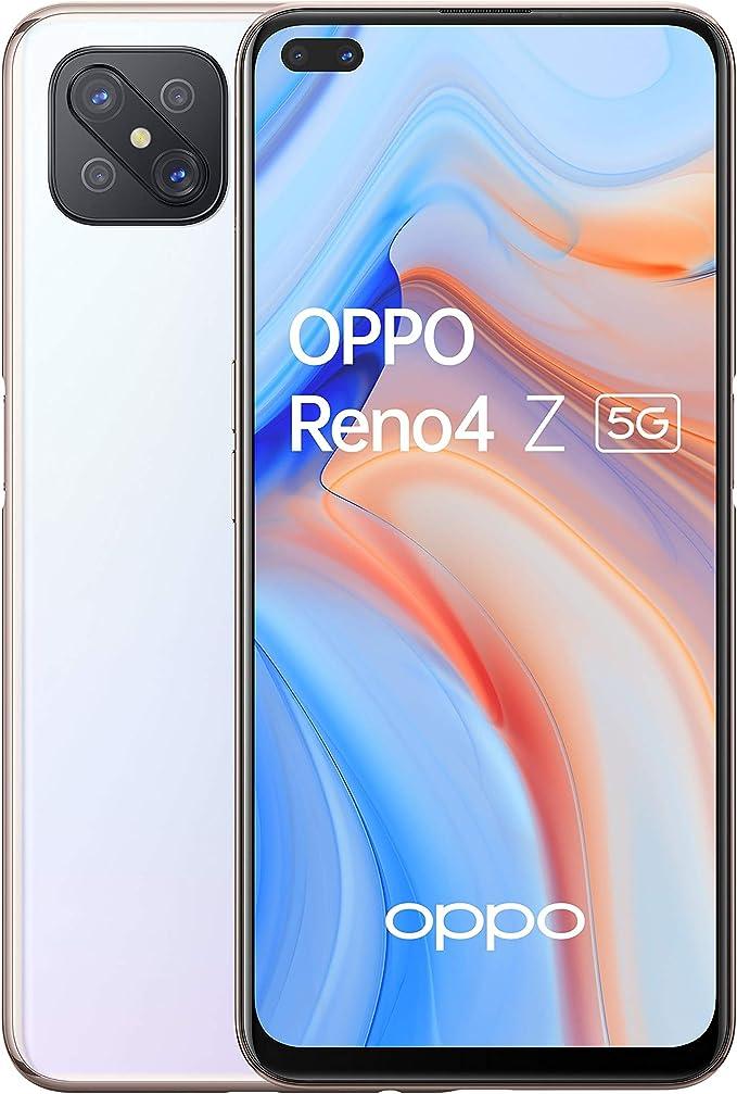 OPPO Reno4 Z Smartphone 5G, Display 6.5''+Refresh Rate 120Hz, 4 Fotocamere, RAM 8GB e 128GB Espandibile, Batteria 4000 mAh, Dual Sim, 2020, [Versione italiana], Dew White