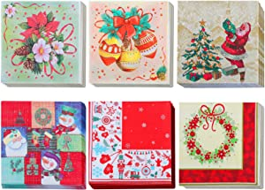 ADXCO 120 Pieces Christmas Napkins Disposable Christmas Pattern Cocktail Napkins Paper Decorative Napkins for Holiday Christmas Party Supplies