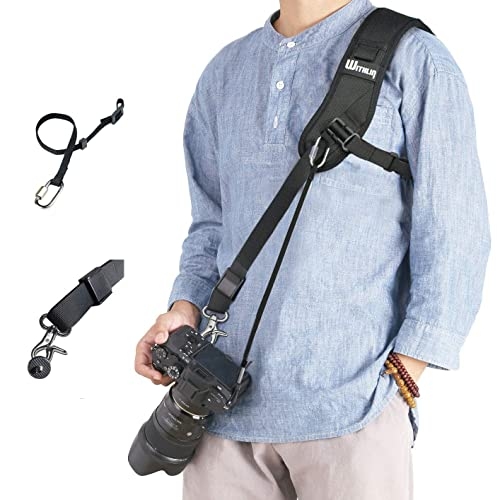 Tracolla per reflex, Withlin cinghia reflex con cavo di sicurezza per fotocamera reflex DSLR (Canon Nikon Sony Pentax Olympus, ecc.)