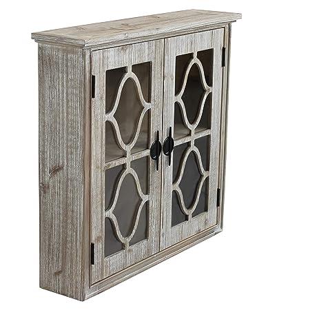 Hängeschrank 2 Türen Glas Shabby Chic aus Holz gebleicht ...